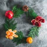 圆的框架由冬天树做成,石榴石,普通话 桂香和茴香在黑暗 概念新年度 平的位置 顶视图 图库摄影