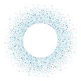 圆的框架由小点或斑点,蓝色树荫做成  免版税库存照片