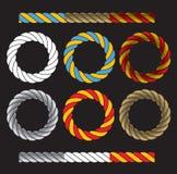 圆的框架由色的扭转的绳子制成 库存照片
