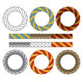 圆的框架由色的扭转的绳子制成 免版税库存图片