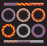 圆的框架由色的扭转的绳子制成 库存图片