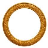 圆的框架金黄照片 免版税库存图片