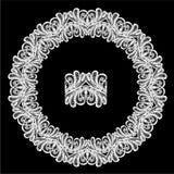 圆的框架-花卉鞋带装饰品 库存照片