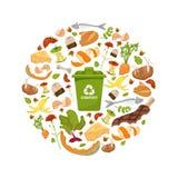 圆的模板有机废料题材 收集果菜类 家庭食品加工和天然肥料的例证, 库存图片