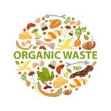圆的模板有机废料题材 收集果菜类 没有食品废弃部 设置残羹剩饭 例证为 免版税图库摄影