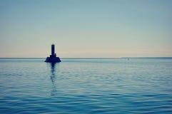 圆的海岛段落灯塔,密歇根湖 库存图片