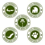 圆的深绿传染媒介eco邮票集合用于设计 免版税库存照片