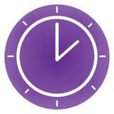圆的现代紫罗兰色时钟 免版税图库摄影