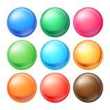 圆的球形被设置的传染媒介 与强光的集合不透明的多彩多姿的球形,阴影 抽象椭圆,球,泡影,按钮 库存例证