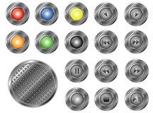 圆的穿孔的按钮,  库存照片