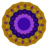 圆的紫色和金几何背景 免版税库存照片