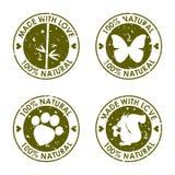圆的老被变形的传染媒介邮票集合用于设计 免版税库存照片