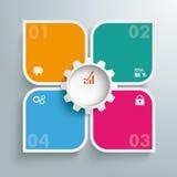 圆的色的Quadrates模板4选择齿轮中心PiAd 图库摄影