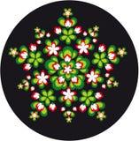 圆的花叶子装饰品 免版税图库摄影