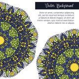 圆的花装饰品 装饰葡萄酒印刷品 豪华花卉织法样式 免版税图库摄影