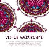 圆的花装饰品 装饰葡萄酒印刷品 豪华花卉织法样式 库存照片