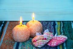 圆的蜡烛烧伤 免版税库存图片