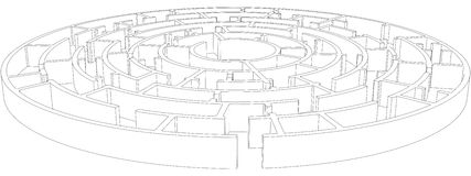 圆的被缠结的迷宫 向量 免版税库存照片
