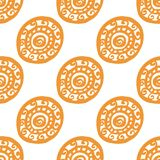 圆的装饰品无缝的样式 库存照片
