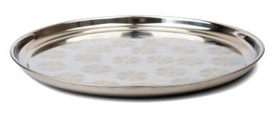 圆的钢盘子 库存照片