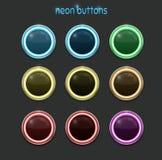 圆的霓虹按钮 免版税图库摄影