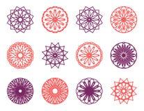 圆的颜色装饰品集合 免版税库存图片