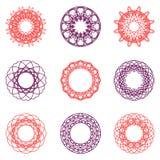 圆的颜色装饰品集合 免版税库存照片