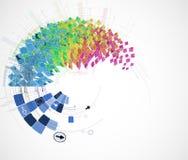 圆的颜色计算机科技传染媒介背景 相互的公众 库存图片