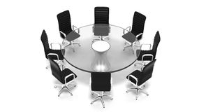 圆的玻璃会议室桌 图库摄影