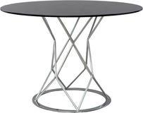 圆的玻璃dinning的桌 现代设计师,在白色背景隔绝的桌 家具系列  免版税库存图片
