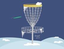 圆盘高尔夫球篮子在冬天(传染媒介) 免版税库存照片