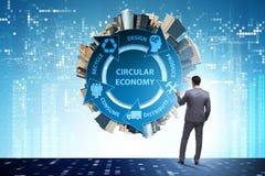 圆经济的概念与商人的 免版税库存照片