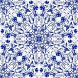 圆装饰品的无缝的花卉样式 仿照国画样式的浅兰的背景在瓷 免版税图库摄影