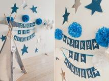 圆锥形小屋 装饰在生日 免版税库存照片