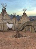 圆锥形帐蓬传统村庄 库存照片