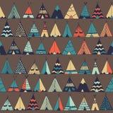 圆锥形帐蓬美国本地人夏天帐篷例证 免版税库存照片