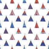 圆锥形帐蓬美国本地人夏天帐篷例证 库存照片