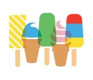圆锥形的冰淇淋杯和冰棍儿 库存图片