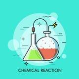 圆锥形的实验室和圆底部烧瓶用五颜六色的液体填装了并且由导线连接了 化学制品的概念 库存例证
