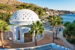 圆顶在Kalithea罗得岛,希腊-文本翻译: 免版税库存图片