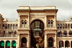 圆顶场所维托里奥Emanuele在米兰 免版税库存图片