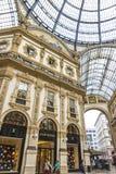 圆顶场所维托里奥Emanuele购物中心在米兰,意大利 图库摄影
