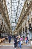 圆顶场所维托里奥Emanuele购物中心在米兰,意大利 免版税库存图片