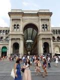 圆顶场所维托里奥Emanuele II在米兰,意大利 免版税库存图片