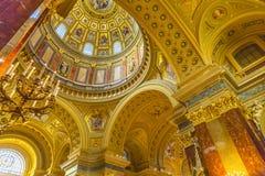 圆顶大教堂曲拱圣徒斯蒂芬斯大教堂布达佩斯匈牙利 免版税库存照片