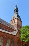 圆顶大教堂(1211),里加,拉脱维亚钟楼  库存图片