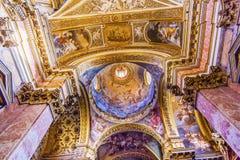 圆顶天花板圣玛丽亚马达莱纳半岛教会罗马意大利 免版税库存照片