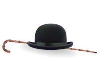 圆顶硬礼帽和竹子藤茎 向量例证