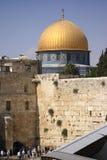 圆顶耶路撒冷岩石哭墙 图库摄影