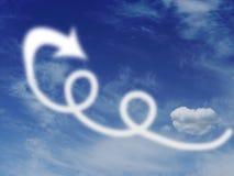 圈和漏洞在天空,与云彩和箭头 逃命,飞行去概念 库存图片